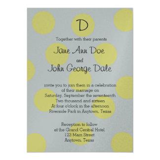 灰色の結婚式招待状の黄色い水玉模様 カード