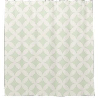 灰色の緑およびクリーム色のGeocirclesパターンデザイン シャワーカーテン