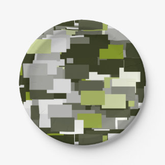 灰色の緑の都市カムフラージュ ペーパープレート
