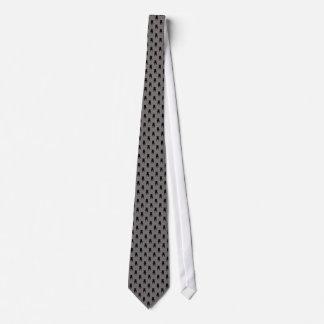 灰色の背景の黒いパグのシルエット オリジナルネクタイ