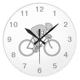 灰色の自転車のライダー ラージ壁時計