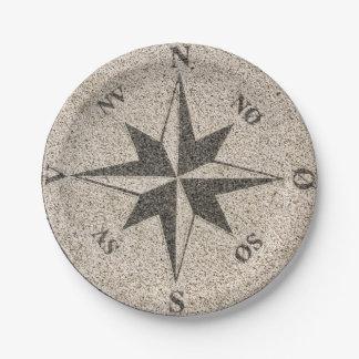 灰色の花こう岩の航海のなコンパス面図 ペーパープレート