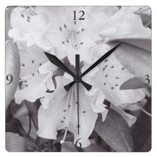 灰色の花の正方形の時計 スクエア壁時計