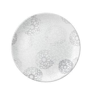 灰色の花の破烈のデザイン 磁器プレート