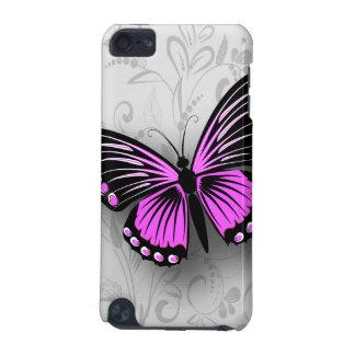 灰色の花柄のお洒落なピンクの蝶 iPod TOUCH 5G ケース