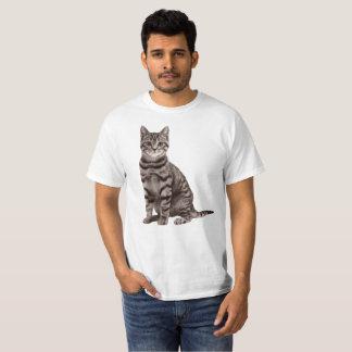 灰色の虎猫猫のワイシャツ Tシャツ