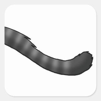 灰色の虎猫猫尾 スクエアシール