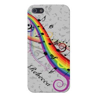 灰色の虹の黒い音符 iPhone SE/5/5sケース