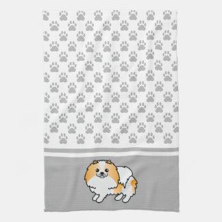 灰色の足パターンとのオレンジおよび白いポメラニア犬 キッチンタオル