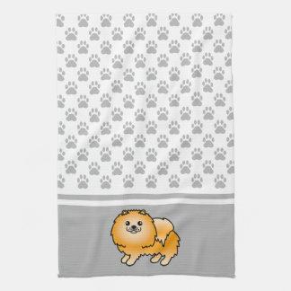 灰色の足パターンとのオレンジ色のポメラニア犬 キッチンタオル