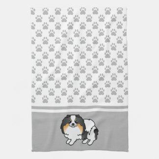 灰色の足パターンとの三色のポメラニア犬 キッチンタオル