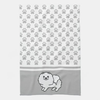 灰色の足パターンとの白いポメラニア犬 キッチンタオル