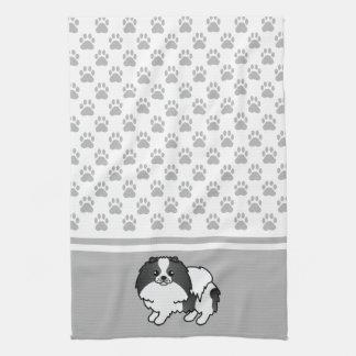 灰色の足パターンとの白黒ポメラニア犬 キッチンタオル