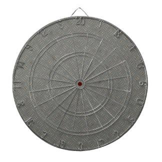 灰色の金属のダイヤモンドのプレートの質の背景 ダーツボード