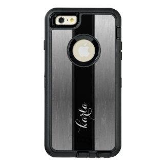 灰色の金属質の黒のストライプのアクセント オッターボックスディフェンダーiPhoneケース