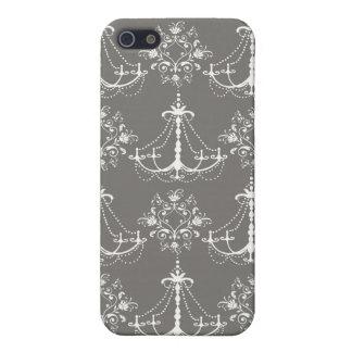 灰色の銀の白いシャンデリアのダマスク織 iPhone 5 ケース