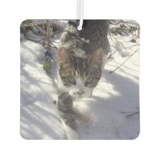 灰色の雪の子猫 カーエアーフレッシュナー