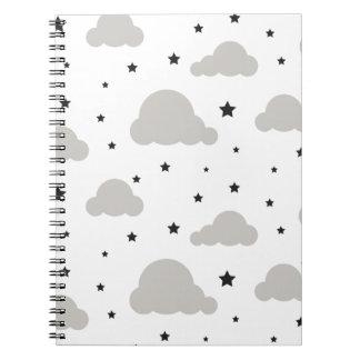 灰色の雲および黒い星 ノートブック