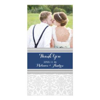 灰色の青いダマスク織は結婚式の写真カード感謝していしています カード