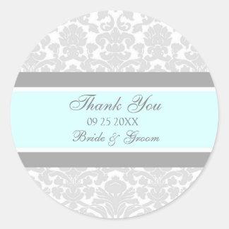 灰色の青いダマスク織は結婚式の引き出物のラベル感謝していしています ラウンドシール