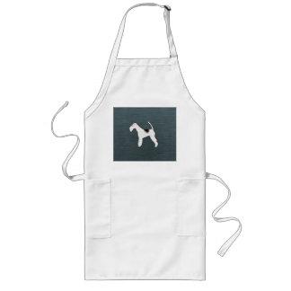 灰色の青いペット所有者のフォックステリア犬犬 ロングエプロン