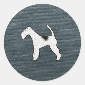 灰色の青のフォックステリア犬犬 ラウンドシール