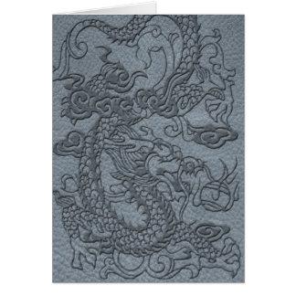 灰色の革プリントのエンボスのドラゴン カード