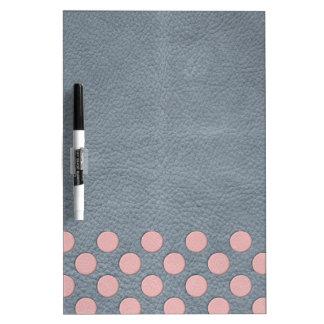 灰色の革プリントのピンクの水玉模様 ホワイトボード