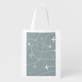 灰色の飛行経路パターン エコバッグ