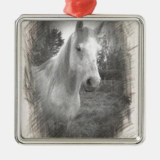 灰色の馬の写真 メタルオーナメント