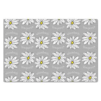 灰色の黄色い名前をカスタムするを用いる粋な花のデイジー 薄葉紙