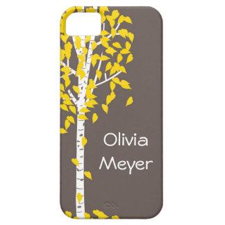 灰色の黄色い《植物》アスペンの木のiPhoneの箱 iPhone SE/5/5s ケース