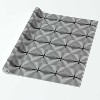 灰色の黒い十字の金属包装紙 包み紙