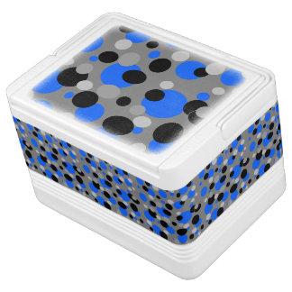 灰色の黒くおよび青の点 IGLOOクーラーボックス