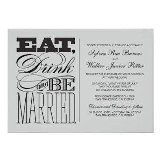 灰色の-飲み物を食べ、結婚したがあって下さい-結婚式 カード