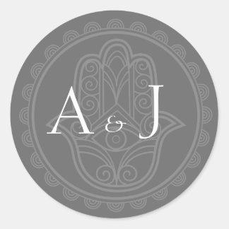 灰色のhamsaの円形のステッカー 丸形シールステッカー