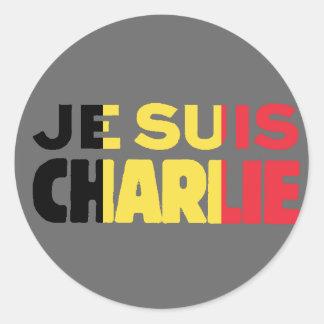 灰色のJe Suisチャーリー私AMチャーリーベルギーの旗 ラウンドシール