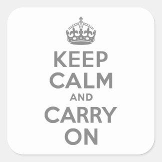 灰色のKeep Calm and Carry On スクエアシール