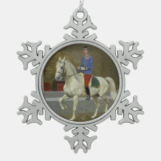 灰色のLipizzanの種馬のクリスマスのオーナメント スノーフレークピューターオーナメント