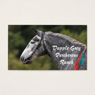 灰色のPercheronの馬のポートレートをまだらにして下さい 名刺