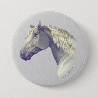 灰色のPercheronの馬頭部 7.6cm 丸型バッジ