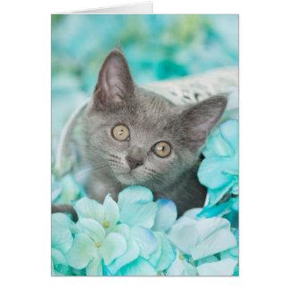 灰色のSadieの青い花柄のブランクNotecard カード