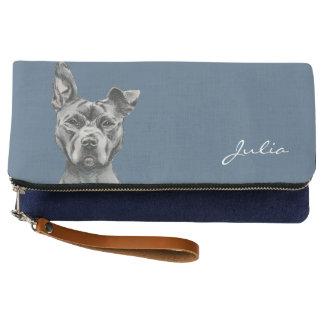 灰色のStalkyピット・ブル犬のスケッチ クラッチバッグ