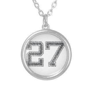 灰色はジャージー#27を遊ばします シルバープレートネックレス