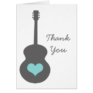 灰色または水のギターのハートのサンキューカード カード