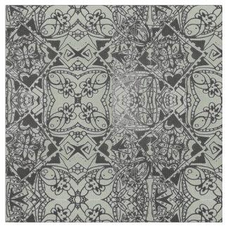 灰色ハートの花の正方形 ファブリック
