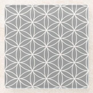 灰色パターンの生命クリームの花 ガラスコースター