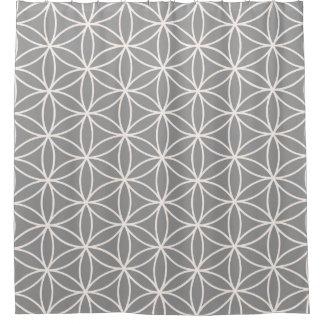 灰色パターンの生命クリームの花 シャワーカーテン