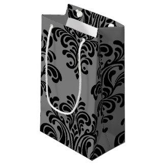 灰色パターンの黒いダマスク織 スモールペーパーバッグ
