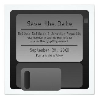 灰色フロッピーディスクのセーブ・ザ・デート案内 カード